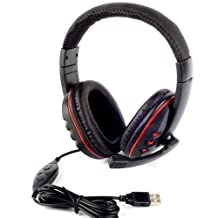 Wayer USB Stereo Headphone Headband Earphone with Microphone Gaming Headset for PS3 Pc Laptop (Black)