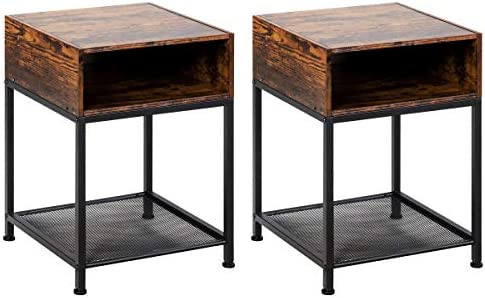 Giantex End Table Industrial W Open Compartment, Mesh Shelf and Metal Frame Side Table for Bedroom, Living Room Easy Assemble Nightstand 2, Rustic Brown