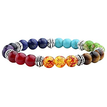 - 41RSyGlr2HL - Jovivi 7 Chakras Bracelet Reiki Healing Balancing Round Beads