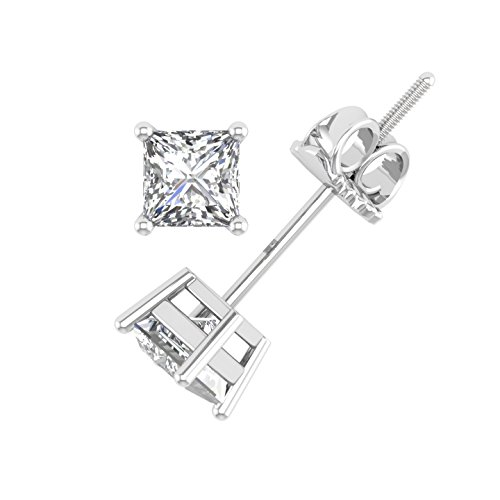 IGI Certified 14k White Gold Princess-Cut Diamond Stud Earrings (1/4 carat)