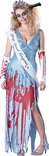 Ladies 5 Piece Zombie High School Girl Prom Queen + Knife Tiara Halloween Fancy Dress Costume Outfit UK 8-18 (UK 10-12) -