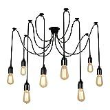 Lightess Hanging Ceiling Lights Vintage Multiple Adjustable DIY Spider Pendant Lighting Chandelier E26 for Living Room (8 heads)