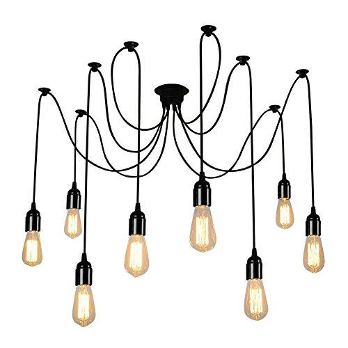 - Lightess Vintage Multiple Adjustable DIY Ceiling Spider Pendant Lighting Chandelier (8 Heads)