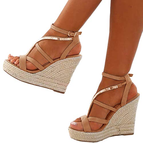 (Chellysun Womens Open Toe Espadrille High Platform Wedge Sandals Gladiator Sandals Ankle Strap Buckle Shoes Brown)