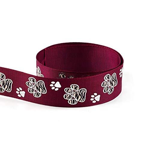 - Silver Sparkle Zebra Paw Animal Print Cheer Grosgrain Polyester Ribbon 10 Yards 7/8