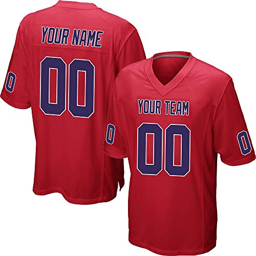 (Custom Youth Red Mesh Football Jersey for Kids Swen Team Name and Your Numbers,Navy-White Size)