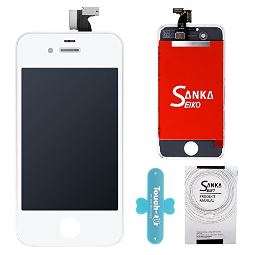 SANKA For iPhone 4S Screen LCD Replacement, Retina Display Digitizer Touch Screen Replacement Repair Kit with Tools for iPhone 4S - White