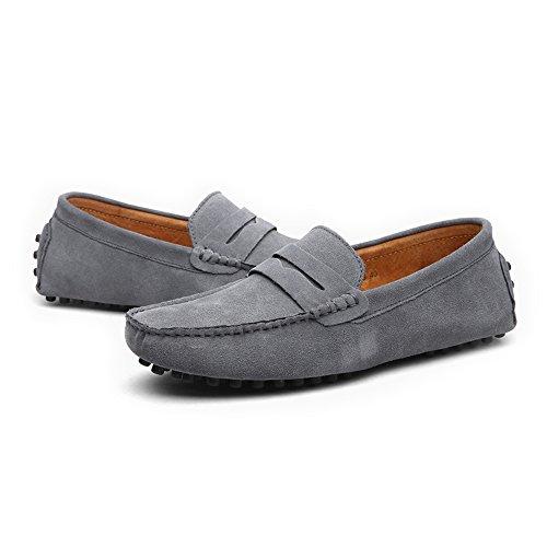 Cordones Mocasines Cuero Mocasines Hombres Color Cordones tamaño Marrón con Xiaojuan con 44 Barcos Zapatos para hasta para Casuales sin de EU genuinos Gris 49 Cordones Talla EU shoes zXq5qn8Bt