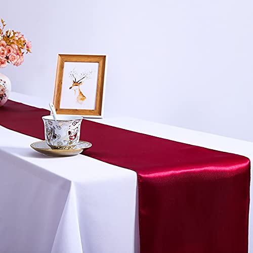 Gerbrief 1-Pack Satin Table Runner Solid Color 12 x 108 inches Long, Table Runners for Wedding, Birthday Parties, Banquets Decorations, 2021 New Tablecloths (Wine)