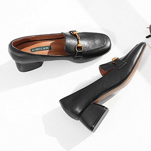 Xue Qiqi Court Schuhe Damenschuhe Frauen Dick mit Einem Einem Einem Quadratischen Kopf Wilde Pedale Einzelne Schuhe Weiblich, 38, Schwarz - 69a4cb