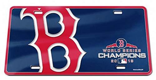 (Stockdale Boston Red Sox 2018 World Series Champions Bold Design Premium Laser Cut Tag Acrylic Inlaid License Plate Baseball)