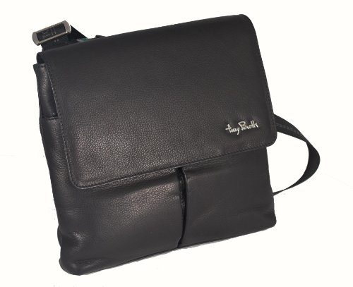 Large Black Tony Soft Flap Body 9270blk Genuine Leather Perotti Over Handbag Across Tp qgwzqvB