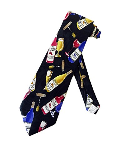 Fratello Mens Wine Tasting Necktie - Black - One Size Neck Tie