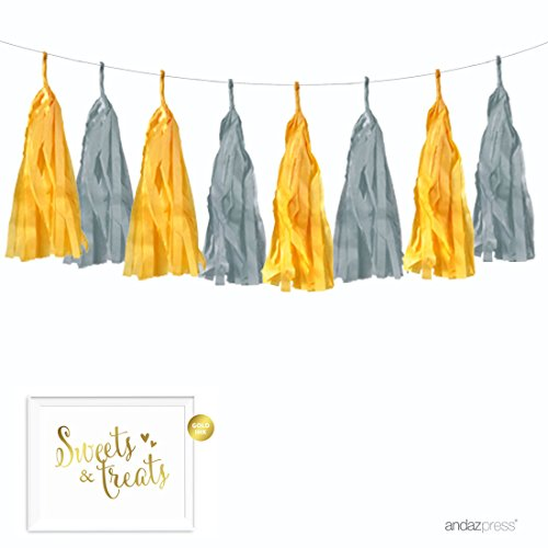 Andaz Press Hanging Tissue Paper Tassel Garland Decor with Gold Party Sign, Yellow and Gray, 16 Tassels, Approx. 10-Feet, String Included, 1-Set, Baby Shower Elephant Nursery Decorations