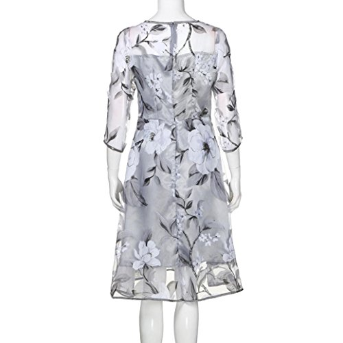 AIMTOPPY Women's Summer Three-quarter sleeves Organza Floral Print Wedding Party Ball Prom Gown Cocktail Dress (XL, Gray) by AIMTOPPY (Image #5)