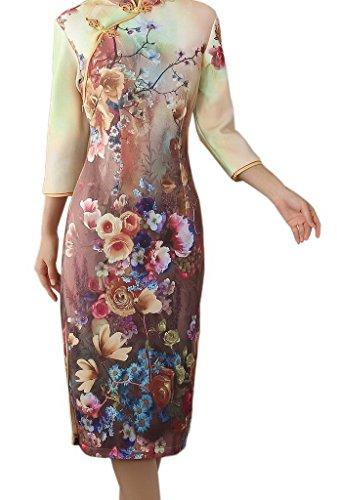 Chinoise Soirée Style Femme Longue 3 Fleur Robe Elégant Robes Manche Mariage Bigood 76vgIyfYb