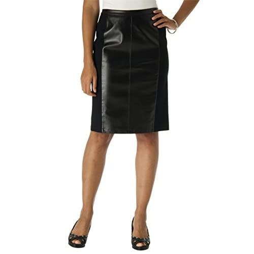 034b0791afa8 low-cost Jessica London Women s Plus Size Leather And PontÉ Knit Skirt