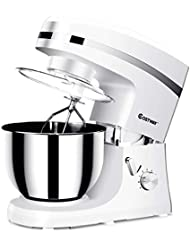 Costway Tilt-head Stand Mixer 5.3Qt 6-Speed 120V/800W Electric Food Mixer w/Stainless Steel Bowl(White)