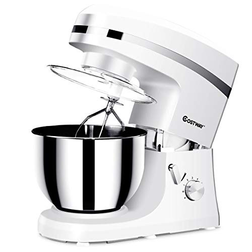 COSTWAY Tilt-head Stand Mixer 5.3Qt 6-Speed 120V/800W Electric Food Mixer w/Stainless Steel Bowl(White) ()