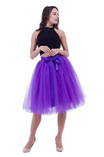 kephy Women's Adult 7 Layered Pleated Tulle Tutu Skirt A Line Knee Length Petticoat Prom Party Skirt ()