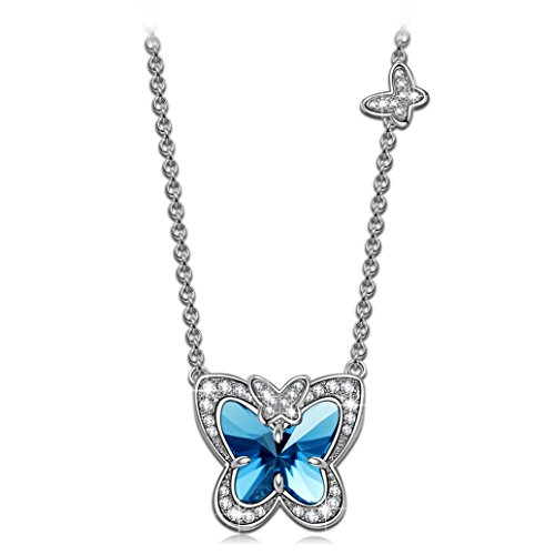 Animal Butterfly Necklace - LADY COLOUR Blue Butterfly Fairy Pendant Necklace Animal Designed Swarovski Crystals Jewelry for Women Teen Girls Graduation Birthday Gifts for Daughter Girlfriend Wife Best Friends