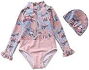 Girls Swimsuits Long Sleeve Kids Swimwear One-Piece Swimming Sunscreen Seaside Surfing Suit Beach Vacation 1-1
