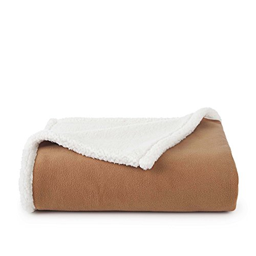 Vellux Shearling Throw Blanket, Brown/Ivory