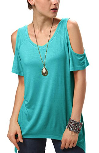 Urban CoCo Women's Vogue Shoulder Off Wide Hem Design Top Shirt - Medium - Teal