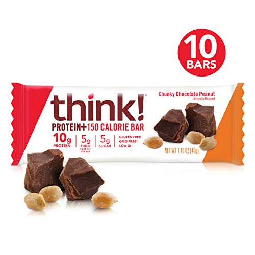 think! (thinkThin) Protein+ 150 Calorie Bars - Chunky Chocolate Peanut, 10g Protein, 5g Sugar, No Artificial Sweeteners, Gluten Free, GMO Free, 1.4 oz bar (10 Count - packaging may vary)