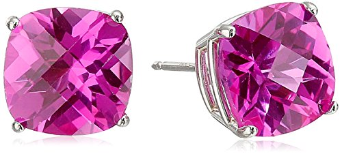 - 14k White Gold Cushion-Cut Checkerboard Created Pink Sapphire Stud Earrings (8mm)