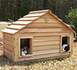 Cedar Duplex Cat House : Size 40X20 CEDAR HOUSE - INSULATED