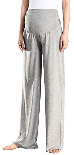 Foucome Women's Maternity Wide Versatile Comfy Palazzo Lounge Pants Stretch Pregnancy Trousers Light ()
