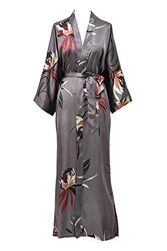 Women's Satin Kimono Robe Long - Floral