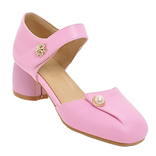 Beau Cour Nouveau Rose Diamante Mi Talon Style Carolbar De Femmes Chaussures D'été CHFUqx5