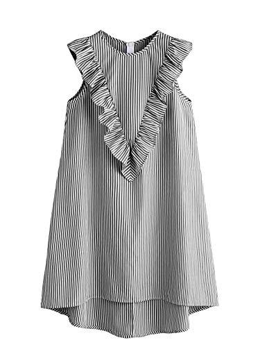 Floerns Women's Vertical Striped Ruffle Front Tunic Dress Grey (Zip Sleeve Dress)
