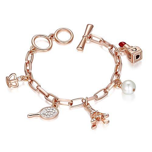 Kemstone Rose Gold Crystal Pearl Bracelet Lovely Lipstick Racket Eiffel Tower Charm Bracelet Jewelry, 7.0