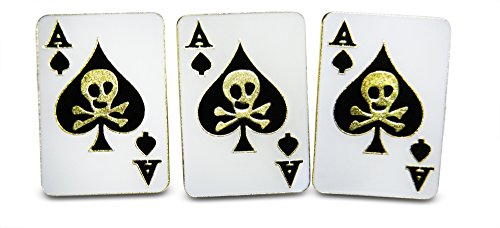 Ace of Spades With Crossed Bones & Skull Playing Card 3-Piece Lapel or Hat Pin & Tie Tack Set with Clutch Back by Novel Merk - Crossbones Pin