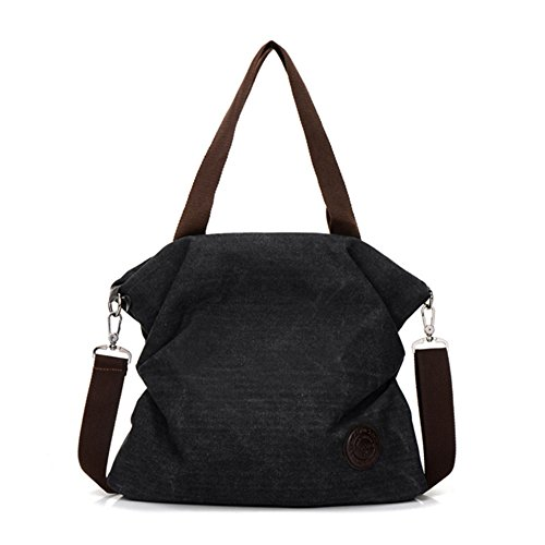Women Canvas Shoulder Bag Crossbody Bags Ladies Satchel Messenger Bag Tote Handbag with Adjustable Strap Black