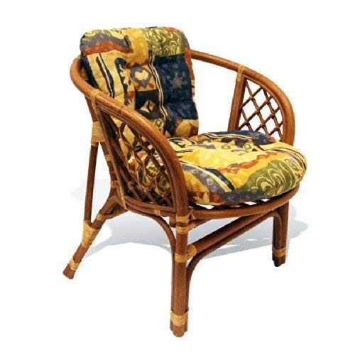 Bahama Handmade Rattan Wicker Chair with Cushion (Chair Company Rattan Hanging Two's)