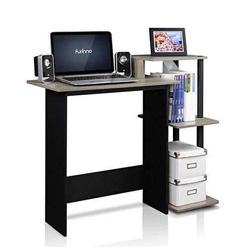 FURINNO 11192GYW/BK French Oak Efficient Home Laptop Notebook Computer Desk, Grey/Black (Oak Computer Table)