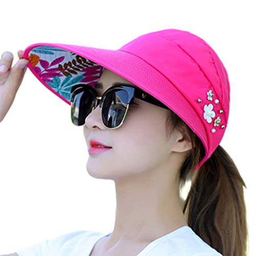 cici store Women Summer Sunshade Ponytail Open Top Hat,Wide Brim Visor Hat Foldable Adjustable Fishing Beach Cap(Rose Red) ()