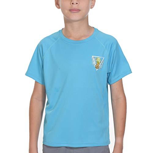 Shirts for Men Rashguard Short Sleeve - Youth UPF 50+ Basic Skins Swim Tops Blue