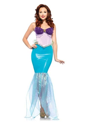 [Leg Avenue Disney Undersea Ariel Halter Dress with Iridescent Organza Tail, Aqua/Purple, Small] (Ariel Tail Costumes)