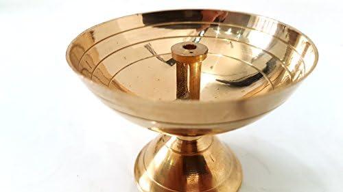 Evergrow Corp Brass Arti Diya Deepak Wick Deep Oil Ghee Lamp Vraja Krishna Devotion Worship