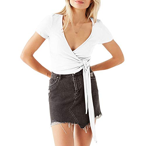 Womens Tie Front Crop Top V Neck Short Sleeve Shirt Summer Ribbed Wrap Shrug Blouse Tops (Large, White) ()