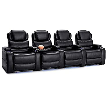 Barcalounger Columbia Leather Gel Home Theater Seating Chairs Power Recline (Row of 4, Black)