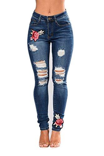 Leggings Dchirs Pantalons Jeans Haute Fit Denim Imprim 3XL Bleu Collant Taille Crayon Fonc Slim Vintage Broderie Femme Sexy S 7ar7pxw