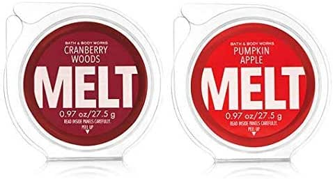 Bath and Body Works 2 Pack Fragrance Melt. 0.97 Oz / 27.5 g. Cranberry Woods & Pumpkin Apple