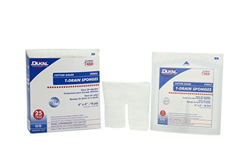 Dukal 7468 T-Drain Gauze Sponge, Cotton, Sterile, 4