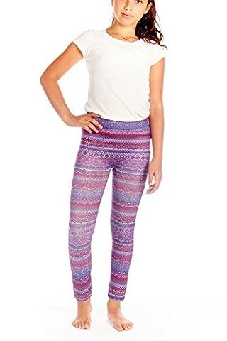 Crush Kids Fair Isle Print High Waist Fashion Leggings Pants Purple Size 7 - 16